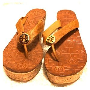 Tory Burch Thora cork leather wedge sandals